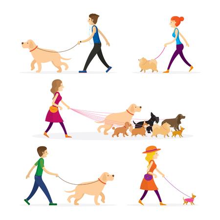 Ilustración de People Walking with Dogs Set - Imagen libre de derechos