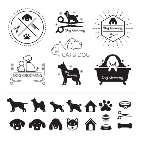 Illustrazione per Pets Cats and Dogs Logo Grooming Shop or Salon - Immagini Royalty Free