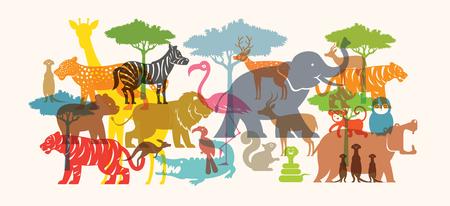 Ilustración de Group of Wild Animals, Zoo, Silhouette, Colourful Shape Flat Design - Imagen libre de derechos