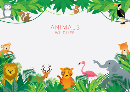 Ilustración de Wild Animals in Jungle, Frame, Kids and Cute Cartoon Style - Imagen libre de derechos
