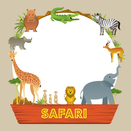 Illustration pour Group of African Safari Animals Frame, Cute Animals, Nature and Wildlife - image libre de droit