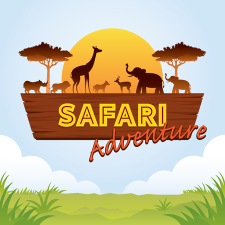 Illustration pour African Safari Adventure Sign with Animals Silhouette, Nature and Wildlife - image libre de droit