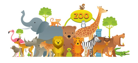 Illustration pour Group of Wild Animals, Zoo, Entrance Sign, Kids and Cute Cartoon Style - image libre de droit