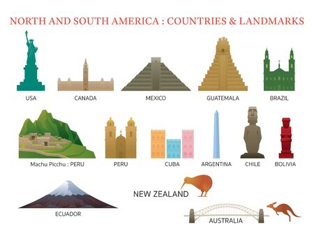 Illustration for America Continent and Australia Countries Landmarks, Famous Place, Buildings, Travel and Tourist Attraction - Royalty Free Image