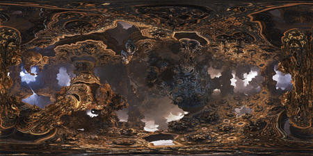 Photo for Futuristic 360 panorama with fractal environment for 3D or VR with fog on the horizon. 360 metadata injected. Equirectangular projection. - Royalty Free Image