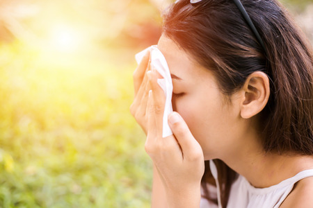 Photo for the women clean sweat on her face for clean skin face. - Royalty Free Image