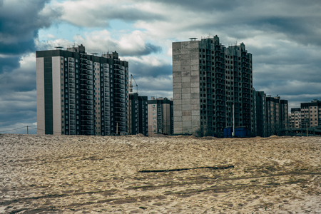 High-rise unfinished houses on wastelands, Voronezh, Russia