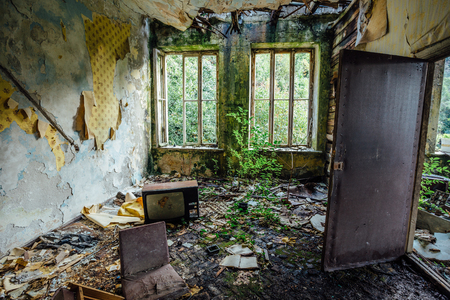 Photo pour Interior of overgrown by vegetation room of abandoned and forsaken apartment house. Green post-apocalypse concept. - image libre de droit
