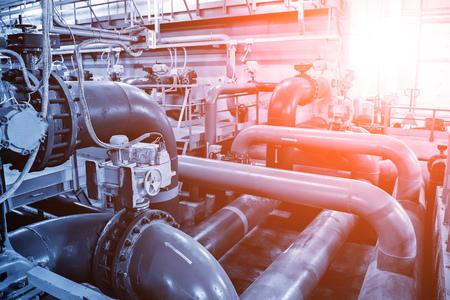 Photo pour Pipes and sewage pumps inside modern industrial wastewater treatment plant. - image libre de droit