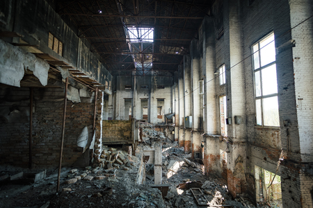 Photo for Burned ruined thermal power plant - Royalty Free Image