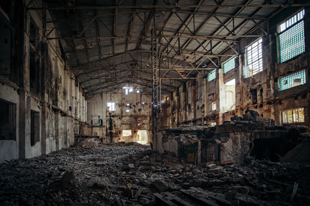 Photo for Abandoned and ruined sugar factory in Lower Kislyay, Voronezh region - Royalty Free Image