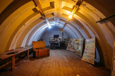 Foto de Dark abandoned Soviet bunker, echo of Cold War - Imagen libre de derechos