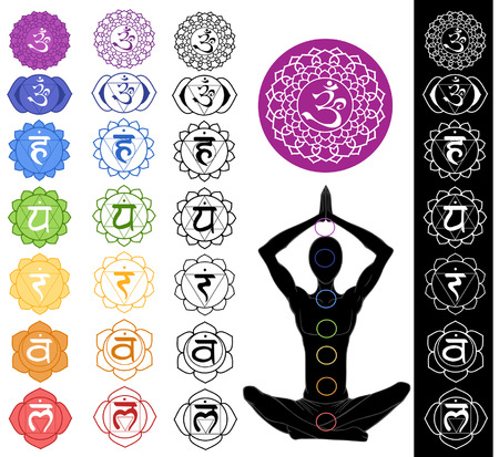 Illustration for Man silhouette in yoga position with the symbols of seven chakras  - Royalty Free Image