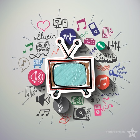Illustration pour Music and entertainment collage with icons background. Vector illustration - image libre de droit