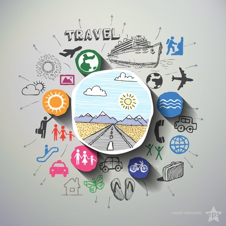 Foto de Travel collage with icons background. Vector illustration - Imagen libre de derechos