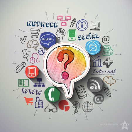 Ilustración de Social media collage with icons background. Vector illustration - Imagen libre de derechos