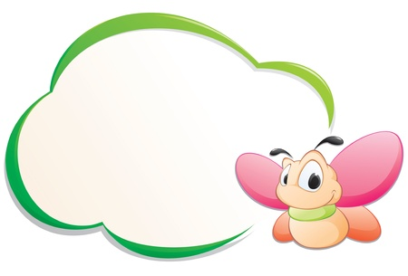 Cute cartoon butterfly with frame for design element