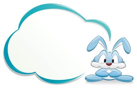 Cute cartoon bunny/rabbit with frame for design element
