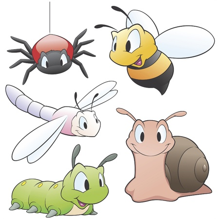 Vector illustration of a set of cartoon garden animals  for design elements. Grouped and layered for easy editing
