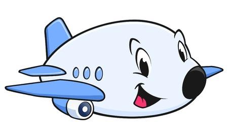 Ilustración de Vector illustration of a cute cartoon airplane for design element - Imagen libre de derechos