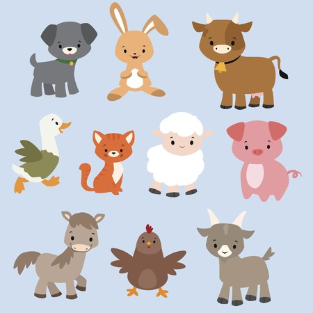 Photo pour A set of cute cartoon farm animals - image libre de droit