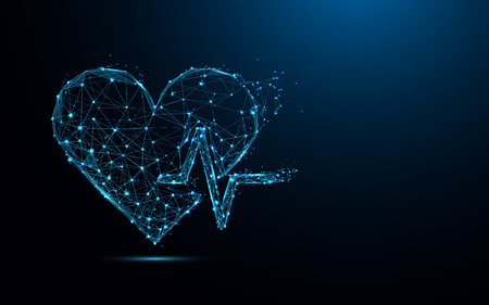 Ilustración de Abstract heart beat form lines and triangles, point connecting network on blue background. Illustration vector - Imagen libre de derechos