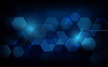 Illustration pour Abstract dark blue geometric hexagon Futuristic concept background - image libre de droit