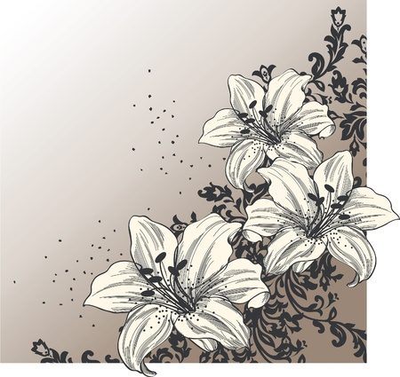 Illustration pour Abstract background with blooming lilies  - image libre de droit