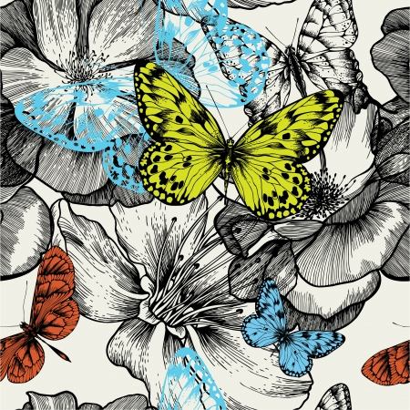 Seamless pattern with blooming roses and flying butterflies, hand drawing.