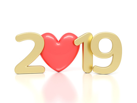 Photo pour New Year 2019 with Heart Symbol - 3D Rendered Image - image libre de droit