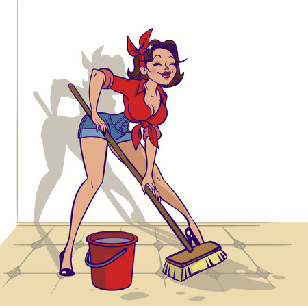 Ilustración de Funny vector cartoon colorfull girl in pin-up style washes something - Imagen libre de derechos