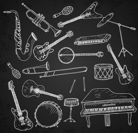 Illustration pour Hand drawn musical instruments set. Vector illustration. - image libre de droit