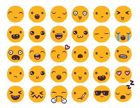 Hand drawn vector emoticons collection.