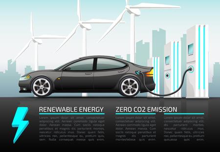 Photo pour Realistic vector illustration of electric car. - image libre de droit