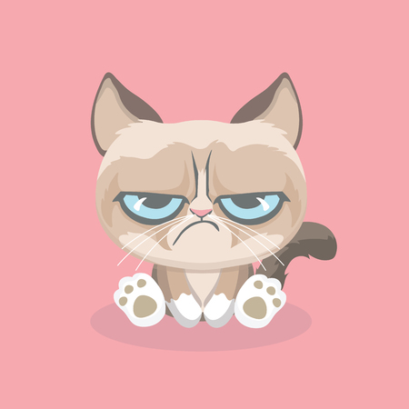 Illustration pour Cute grumpy cat. Vector Illustration. - image libre de droit
