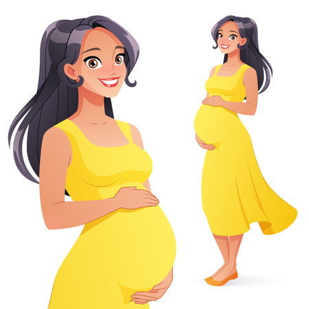 Ilustración de Beautiful Asian smiling pregnant woman. Full length cartoon style vector illustration isolated on white background. - Imagen libre de derechos