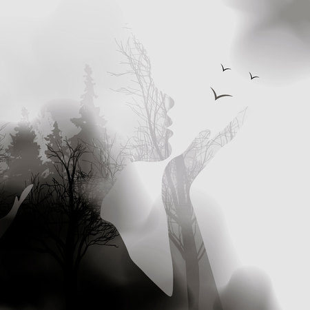 Ilustración de abstract Woman face silhouette. ink effect Forest background.Vector double exposure illustration.Woman face and beautiful nature landscape inside. fog in the forest. 10eps - Imagen libre de derechos