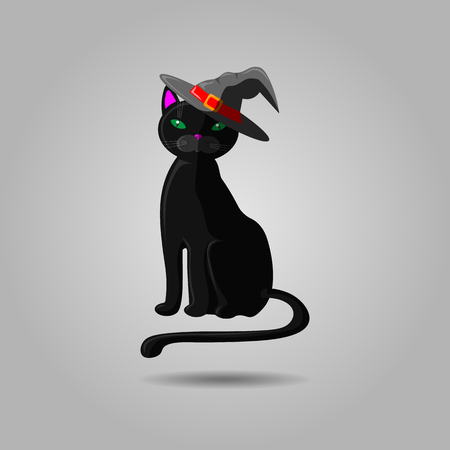 Illustrazione per Halloween black cat in witch hat. Vector animal isolated on gray background. Witch cat in hat 10 eps - Immagini Royalty Free