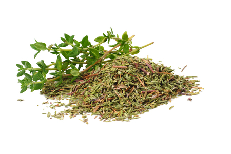 Photo pour green thyme with dried thyme leaves isolated on white background close up - image libre de droit