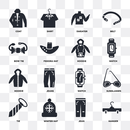 Illustrazione per Set Of 16 icons such as Hanger, Jean, Winter hat, Tie, Sunglasses, Coat, Bow tie, Hoodie on transparent background, pixel perfect - Immagini Royalty Free