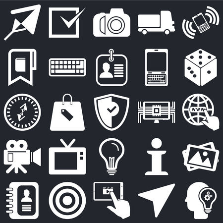 Illustration pour Set Of 25 icons such as Idea, Compass, Tablet, Target, Agenda, Dice, Computer, Video camera, Bookmark, Photo Tick on black background, web UI editable icon pack - image libre de droit