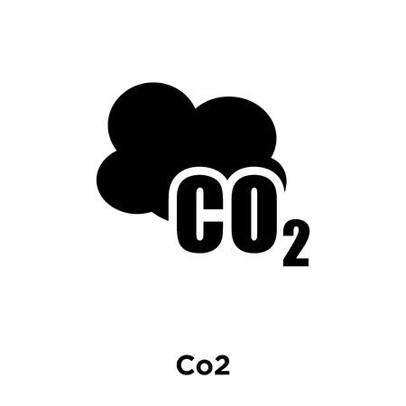 Ilustración de Co2 icon vector isolated on white background, logo concept of Co2 sign on transparent background, filled black symbol - Imagen libre de derechos