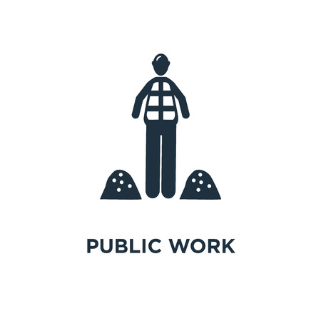 Illustration pour Public Work icon. Black filled vector illustration. Public Work symbol on white background. Can be used in web and mobile. - image libre de droit