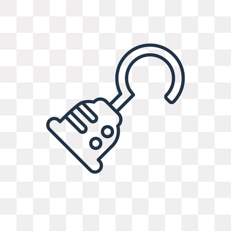 Hook vector outline icon isolated on transparent background, high quality linear Hook transparency concept can be used web and mobile