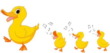 Illustration pour Happy Duck family cartoon - image libre de droit