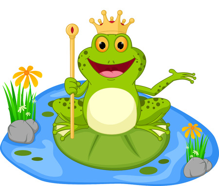 Illustration for prince frog cartoon presenting - Royalty Free Image