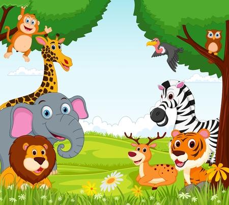 Photo pour Animal cartoon in the jungle - image libre de droit