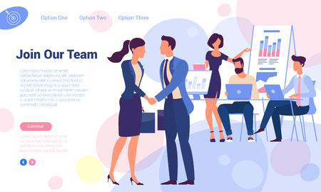 Illustration pour Join our team! Flat design recruiting and hiring web page vector template. Young man and woman shaking hands over office  working people  concept for landing page, template, ui, web, mobile app. - image libre de droit