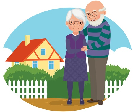 Illustration for old man and his wife standing near her house - Royalty Free Image