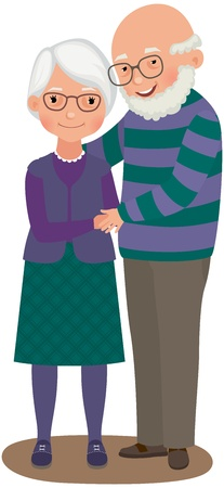 Illustration for Elderly a married couple in love - Royalty Free Image